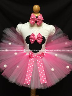 Minnie mouse tutu set silhouette pink Bow pompoms by Abbeykim1