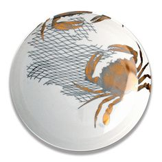 Gold & Platinum Crab and Net Serving Bowl