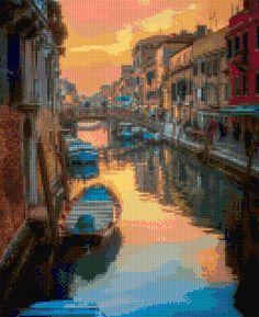 Venice Sunset Cross Stitch pattern PDF - Instant Download! by PenumbraCharts on Etsy