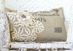 """Burlap Coffee Sack Pillow Medium  -  Embellished with vintage lace, buttons, a doily, a vintage jewel, 22"""" x 15"""", 46.00 + Ship = $56.00 (Sold)  -  http://www.katiesrosecottagedesigns.com/item_2013/Burlap-Coffee-Sack-Pillow-Medium.htm  (04.25.13)"""