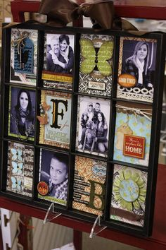 cute decorated window, would make a great gift--could even make something like this for a teacher @ end of school year with photos from that school year.