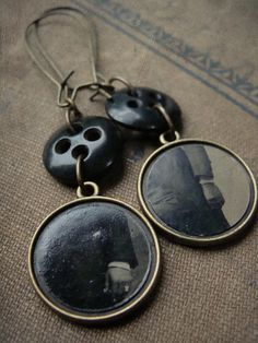 Victorian Tintype and Antique Black Button earrings -