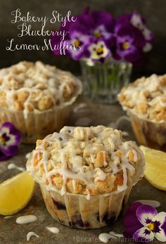 Bakery Style Blueberry-Lemon Muffins - the kind of muffins you find at a gourmet bakery shop!