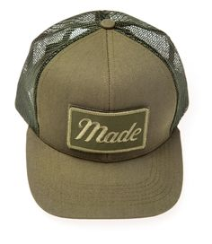new concept 03dc8 8aded Army Green Trucker Hat (with Velcro patch) – Made Movement Graffiti Caps,  Velcro