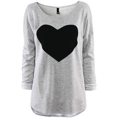 Xfome Style Women's Plus Size Gray Fashion Loose Tops Long Sleeve... ($9.38) ❤ liked on Polyvore featuring tops, shirts, long sleeves, loose tops, grey shirt, womens plus tops, gray top y gray shirt