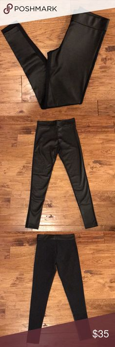 Vegan leather leggings! Never worn with tags! Faux leather leggings with fabric backside for comfort! Super flattering! Size small Matty M Pants Leggings