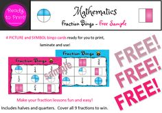 Make your fraction lessons fun and easy! 4 PICTURE and SYMBOL bingo cards ready for you to print, laminate and use!