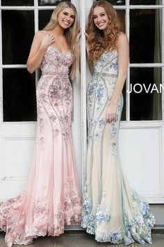 Jovani multi nude and blush floral spaghetti straps v neck gown 55816 Grad Dresses Short, Fitted Prom Dresses, Prom Dresses Jovani, V Neck Prom Dresses, Beaded Prom Dress, Pink Prom Dresses, Plus Size Prom Dresses, Bridesmaid Dresses, Pageant Dresses
