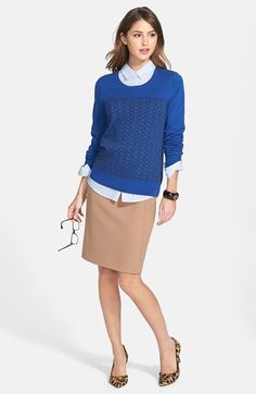 Halogen® Intarsia Sweater & Seamed Pencil Skirt  available at #Nordstrom