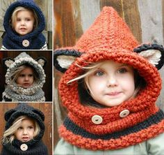 Knit fox hooded cowl (royal blue with ears(?) For Lilly) (same yarn as scarf for aunt Sherry)