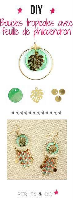 Vous souhaitez réaliser des boucles d'oreilles tropicales ? On a le tuto qu'il vous faut ! Un DIY bijou hyper tendance aux couleurs de l'été. Quelques perles miyuki, un support pour créoles et une breloque feuille de philodendron et le tour est joué !