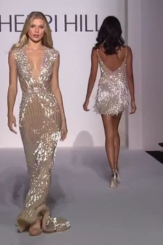 Sherri Hill Evening Gown Sherri Hill Evening Gown Stunning Embellished Nude Sheath Evening Maxi Dress / Evening Gown with Deep V-Neck Cut and small Train . Spring Summer 2019 Runway Collection by Sherri Hill on FF Channel<br> Elegant Dresses, Sexy Dresses, Pretty Dresses, Evening Dresses, Fashion Dresses, Prom Dresses, Formal Dresses, Wedding Dresses, Gown Wedding