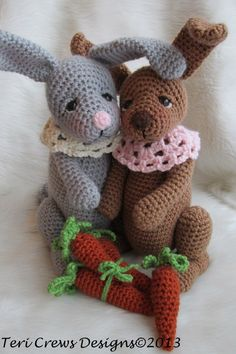 Cute Rabbit Crochet Pattern  $4.95, not a freebie, but scrummy! Love the neck, eyes on it and whole thing! xox