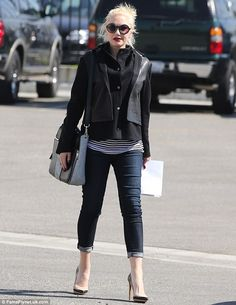 Gwen Stenai.. black hooded jacket with leather panelling detail.. skinny jeans.. striped top.. maternity sexy chic..