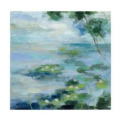 Art Print: Lily Pond II by Silvia Vassileva : 16x16in Canvas Painting Landscape, Landscape Prints, Abstract Landscape, Abstract Art, Abstract Nature, Landscape Photos, Watercolor Painting, Canvas Frame, Canvas Wall Art