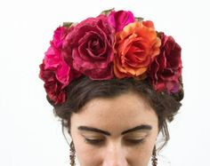 Frida Flower Crown Mexican Headpiece Kahlo Day of the Dead Floral Crown Frida Costume La Catrina Fiesta Kahlo Bloom Design Studio Diy Flower Crown, Rose Crown, Diy Crown, Flower Crowns, Diy Flowers, Flower Crown Headband, Headband Hair, Flower Hair, Frida Kahlo Costume