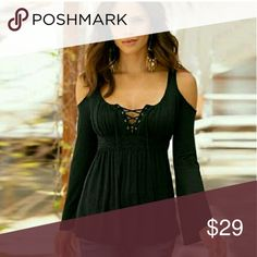 NWT Sexy Lace Up Open Shoulder Black Top Sz M New in package open shoulder lace up long sleeve blouse size medium other sizes available soon I have medium in stock as of now Tops