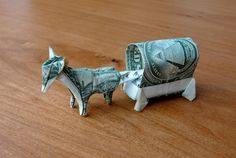 Dollar Origami Horse and Buggy. One dollar for each. Dollar Origami Horse and Buggy Folding Money, Origami Paper Folding, Origami And Kirigami, Origami Easy, Origami Horse, Origami Dragon, Origami Animals, Origami Gifts, Money Origami