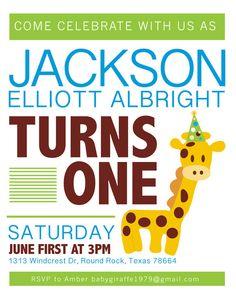 Giraffe Birthday Invitation by KLacapra on Etsy, $15.00