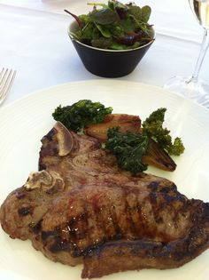 T-bone steak and salad at Chewton Glen