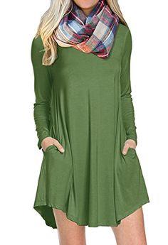 5a13fee6d6 POSESHE Women s Long Sleeve Pocket Casual Loose T-Shirt Dress  12.99 Navy Blue  Dresses