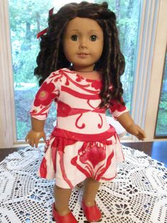 """Red and Pink Doll Dress to fit your 18"""" American Girl Doll by Emmakate0 on Etsy"""