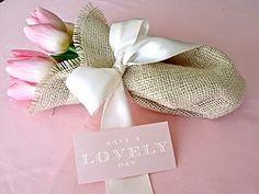 Flowers in Burlap hostess gift