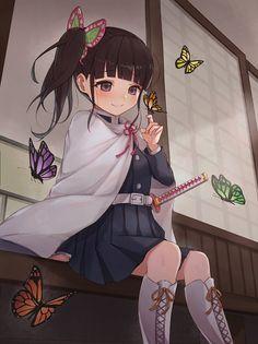 Demon Slayer: Kimetsu no Yaiba, Kanao Tsuyuri, Japanese sword / 花 - pixiv Anime Art Girl, Manga Girl, Anime Girls, Manga Anime, Anime Demon, Demon Slayer, Slayer Anime, Demon Hunter, Cute Anime Pics