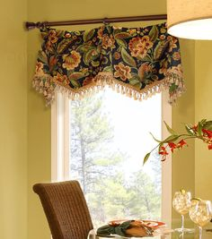Red And Gold Trumpet And Jabot Valance #curtains  Window New Dining Room Valance Decorating Inspiration