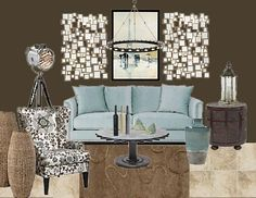 Brown and blue contemporary living room