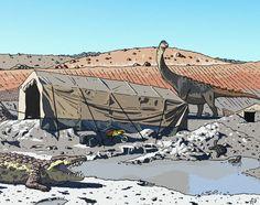 Lohuecotitan y Lohuecosuchus en el yacimiento en el que los descubrieron (Lo Hueco, Cuenca) by Franxurio