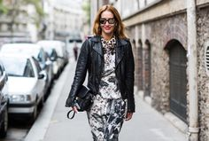 SHOP THE LOOK: Give it an edge I am wearing a printed dress by, british brand, Mother Of Pearl which I love for their picture perfect effortless silhouettes, which are a divine mixture of elegance, femininity and sporty aesthetics. paired with a Balenciaga leather jacket while in Paris