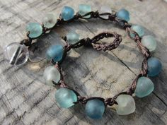 Beachy Blues PETITE Recycled Glass Bracelet  by GroundedJewelry, $48.00