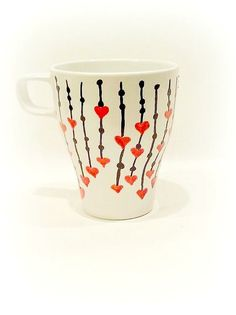 Hearts Coffee Mug. Large Mug - Latte. Custom Hand-Painted Porcelain Coffee Mug. Red Hearts on Strings, Kitchen Decor    Heart Coffee Mug -