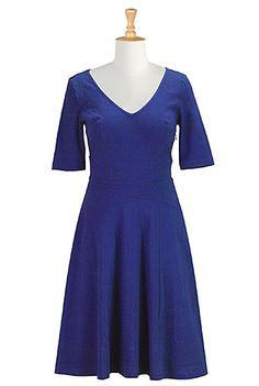 Cotton knit curved waist dress - blue