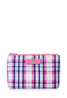 Forever 21 Midsize Plaid Cosmetic Bag in Blue (Pink/blue) Forever 21 Plus, Shop Forever, Power Colors, Touch Of Gray, Mk Bags, Soft Summer, Makeup Case, Bag Organization, Cute Bags