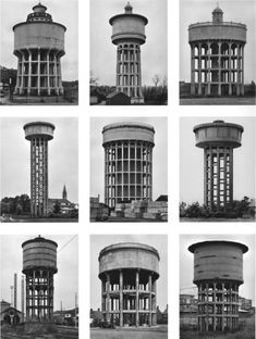 From Konrad Fischer Galerie, Bernd and Hilla Becher, Typology Watertowers 9 b/w photographs Detail Architecture, Industrial Architecture, Contemporary Photography, Art Photography, Bernd Und Hilla Becher, Brutalist, Art World, Great Artists, Art History