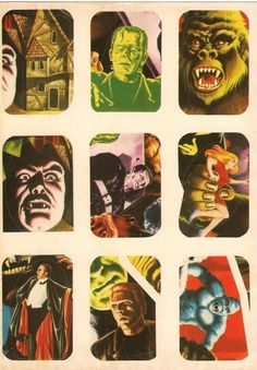 They don't make 'em like this anymore! Monster Brains posted this fantastic series of vintage stickers. Many incarnations of classic monster icons here… Has anyone seen stickers l… Retro Horror, Vintage Horror, Horror Films, Horror Art, Calling All The Monsters, Monster Stickers, Halloween Countdown, Famous Monsters, Scary Monsters