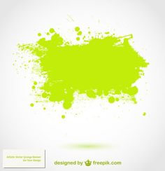 Green watercolor splashes Free Vector