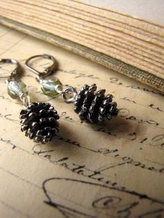 Pine Mist Pewter Pinecone Earrings by nancywallisdesigns on Etsy, $18.50