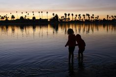 Granddaughters enjoying the bay at sunset. Mission Bay, Granddaughters, San Diego, New York Skyline, Sunset, Photos, Travel, Sunsets, Pictures