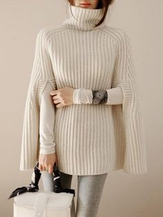 Autumn Winter Elegant Women Turtleneck Knitted Sweaters And Pullovers Casual Black Jumper Cloak Sweaters Loose Female Poncho Pullover Mode, Pullover Sweaters, Half Sleeves, Types Of Sleeves, Casual Sweaters, Sweaters For Women, Knitted Cape, Black Jumper, Winter Outfits Women