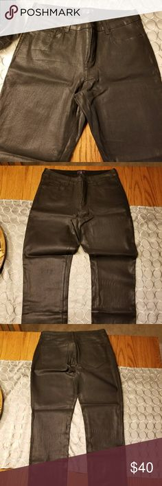 NYDJ Coated Jeans Skinny jeans are coated with a slick, leather-like finish  96% Cotton / 4% Spandex New without Tags NYDJ Jeans