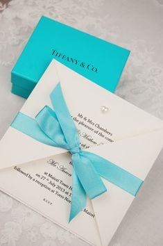 Tiffany Blue Save the Date Crystal heart Wedding Cards