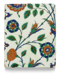 iznik pottery tile with carnations     tiles     sotheby's l17120lot9g7mlen