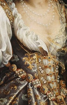 A must-have to wear to a murder: Judith with the Head of Holofernes, Fede Galizia, 1596, detail. Actually, here is a link to the interesting story behind the murder and the reason for the fancy dress. http://www.umma.umich.edu/view/ONLINE/women/real_stories/profiles/judith.htm