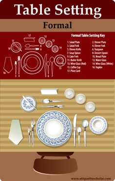 The Art of Dining! Filled with hundreds of step-by-step dining etiquette guides covering all dining situations at home, in a restaurant, at the office, or in a new country. Learn the proper etiquette techniques for all dining situations! Dinning Etiquette, Table Setting Etiquette, Table Settings, Restaurant Table Setting, Restaurant Tables, Restaurant Service, Etiquette And Manners, Table Manners, Dessert Spoons