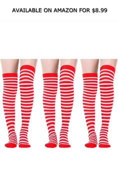 d6140a632 Sumind Women s Long Striped Socks Over Knee Thigh High Stockings for  Christmas ◇ AVAILABLE ON AMAZON