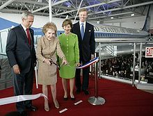 Nancy Davis Reagan (born Anne Frances Robbins; July 6, 1921) is the widow of the 40th President of the United States, Ronald Reagan, and was First Lady of the United States from 1981 to 1989. At a dedication with 43rd President George Bush and First Lady Laura Bush. #PresidentsOfUSA
