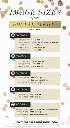 SOCIAL MEDIA IMAGE SIZES GUIDE | Paper Lark Designs